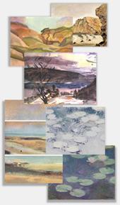 Aquarell Landschaft Malen Premium Foto
